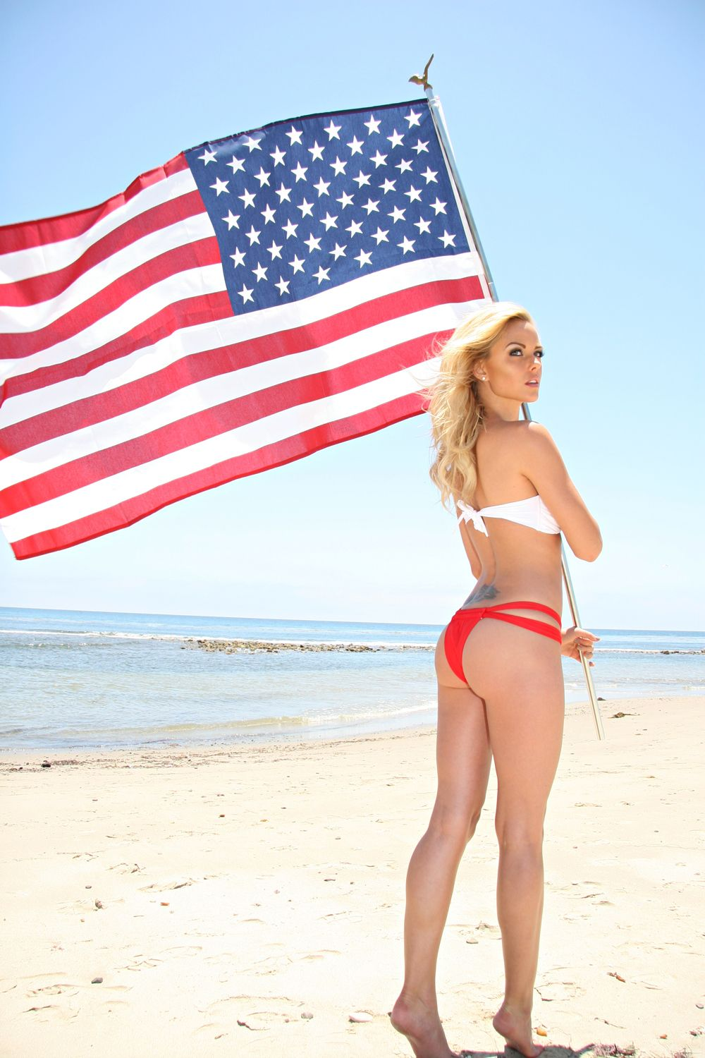 Sexy girl in american flag